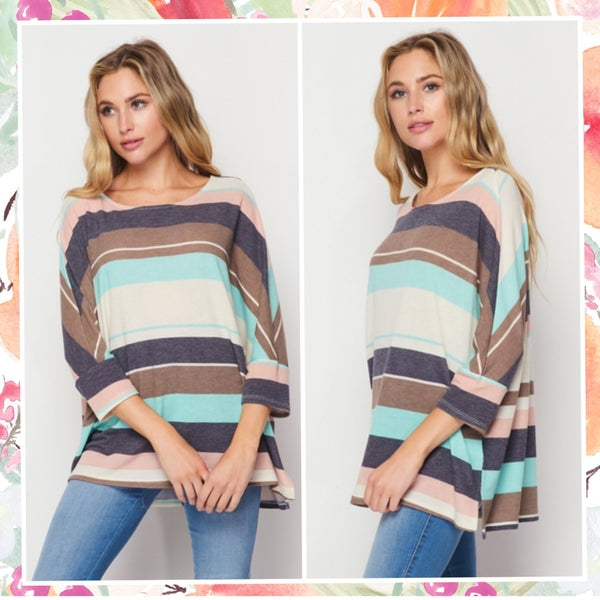 Mint & Navy Multi Striped Tunic