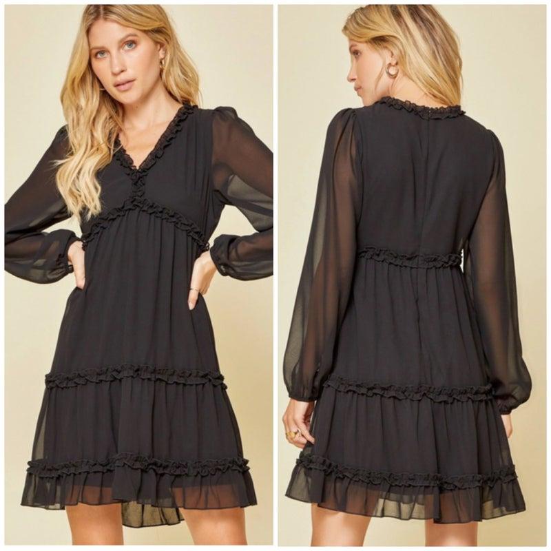 Black Ruffle Detail Baby Doll Dress