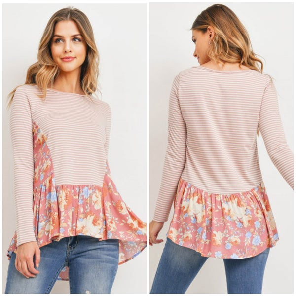 Coral Striped Floral Top