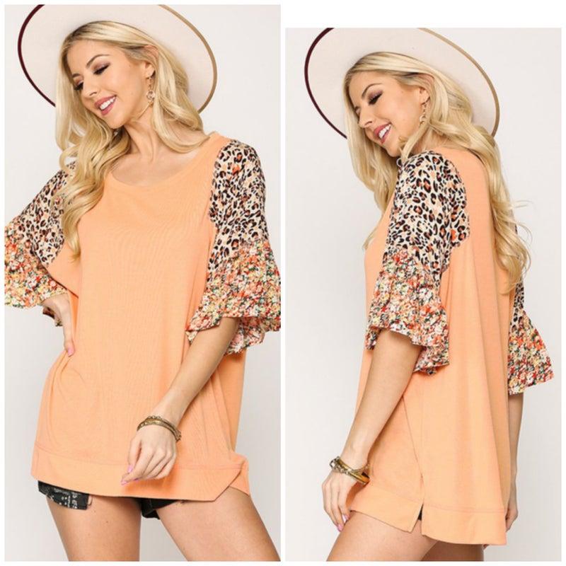 Peach Print Sleeve Ruffle Top