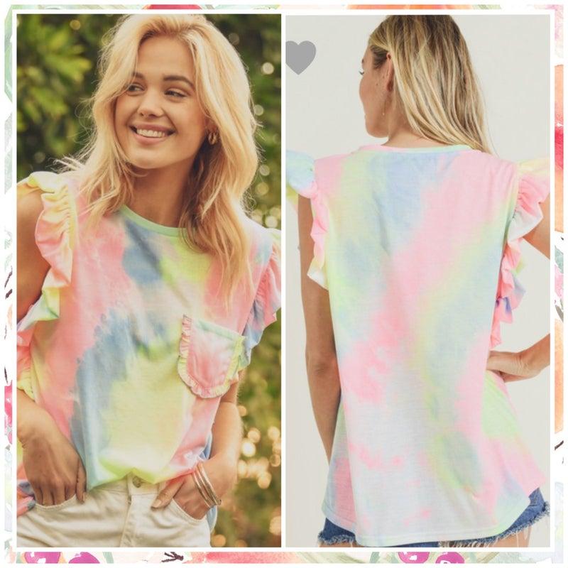 FINAL SALE Pink Mix Tie Dye Ruffle Sleeve Top
