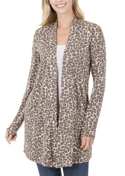 DEAL OF THE DAY Brown Animal Print Pocket Cardigan