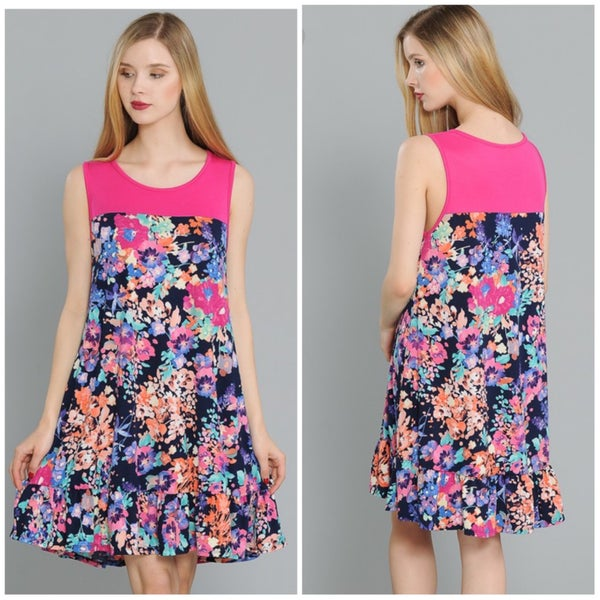 FINAL SALE Pink & Navy Floral Tank Dress