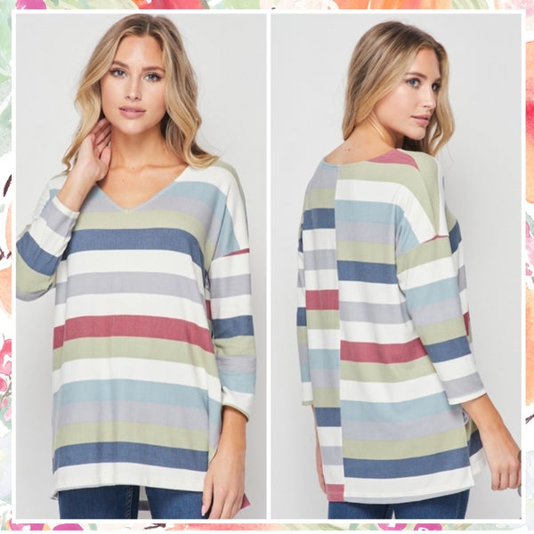 Navy Multi Striped Tunic