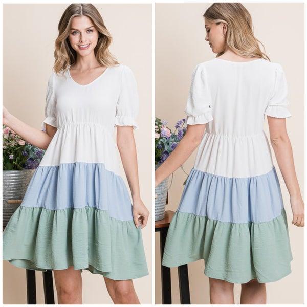 Ivory & Blue Tiered Dress