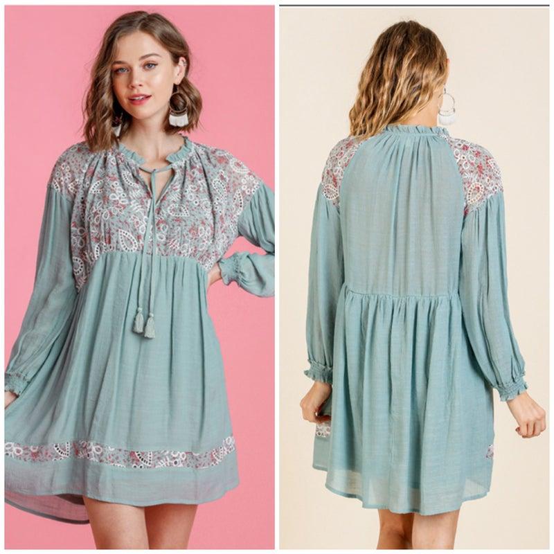Umgee Sage Floral Lace Tie Dress