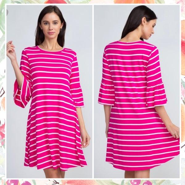 FINAL SALE Pink Striped Ruffle Sleeve Dress