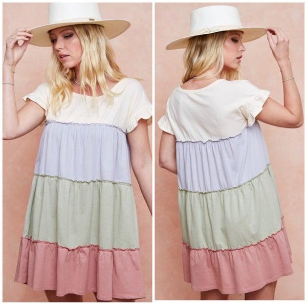 Sage & Pink Tiered Dress
