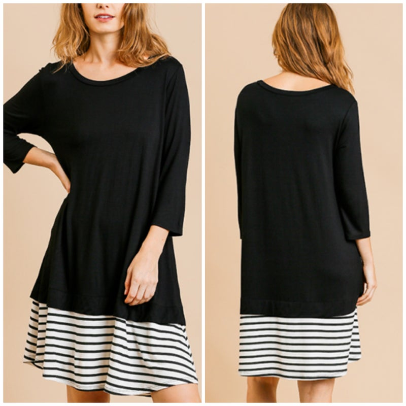 Umgee Black Striped Dress