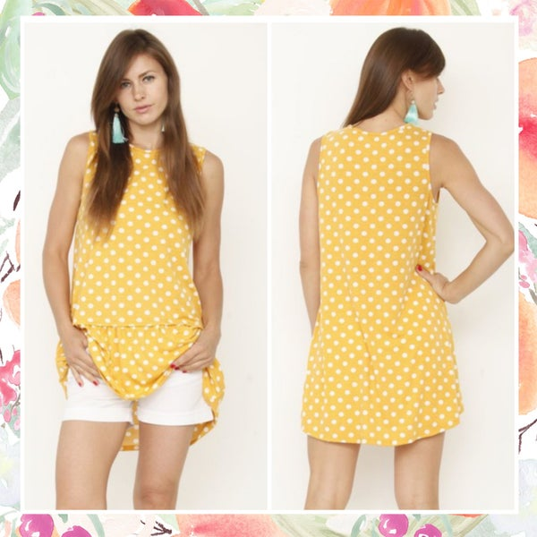 Yellow Polka Dot Peplum Tunic