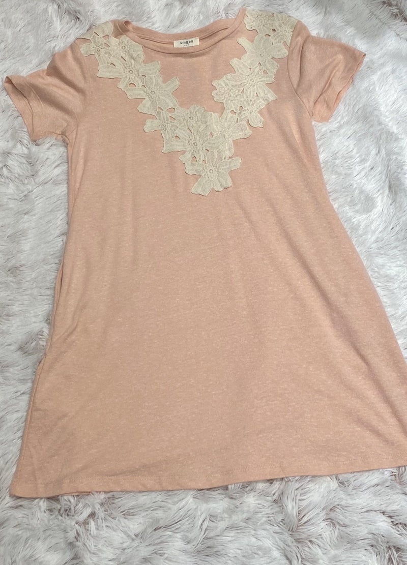 FINAL SALE Umgee Pink Lace Dress