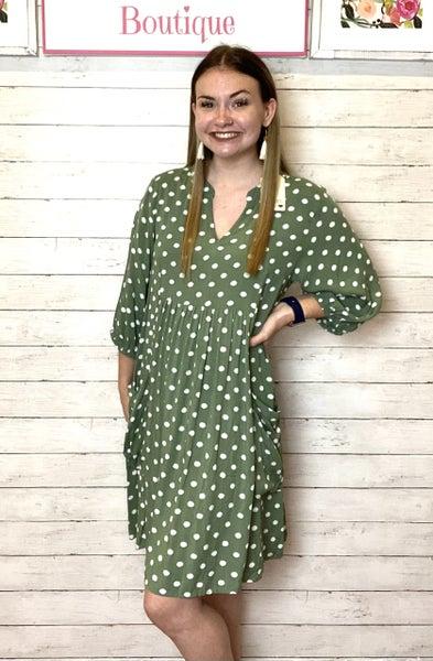 Sage Polka Dot Pocket Dress