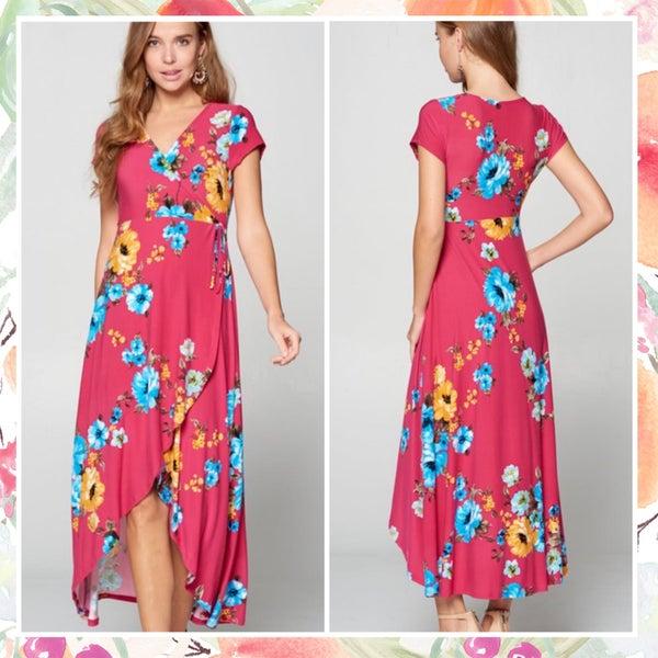Pink Floral Faux Wrap Dress