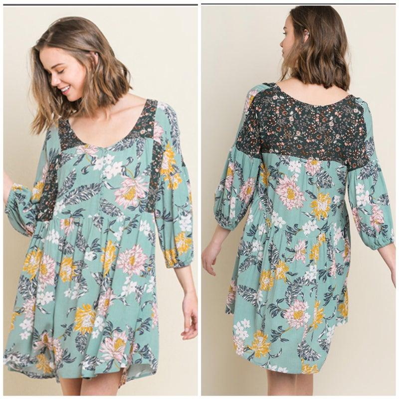 Umgee Mint Floral Babydoll Dress