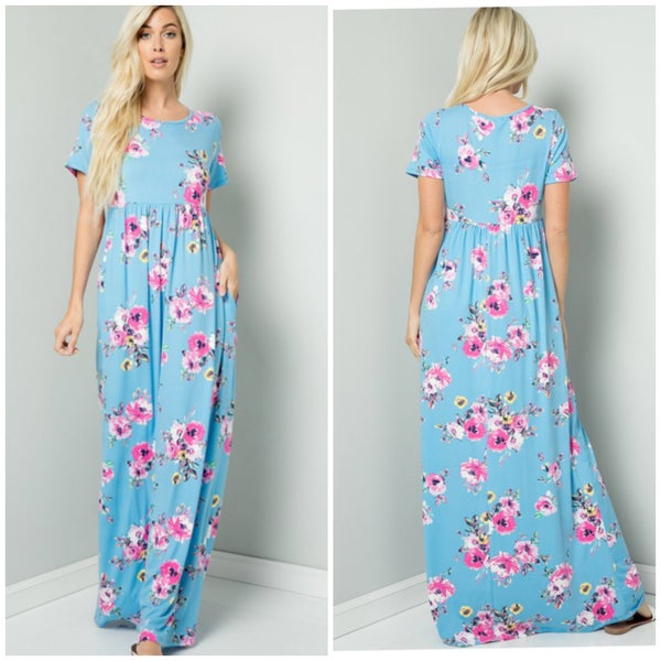 Blue Floral Pocket Maxi Dress