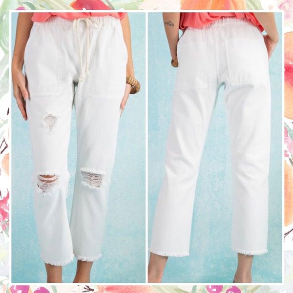 White Distressed Boyfriend Pants