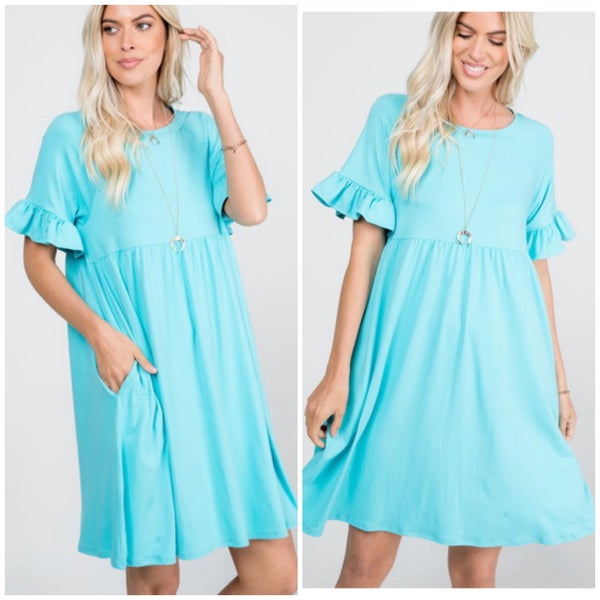 Aqua Ruffle Sleeve Pocket Dress