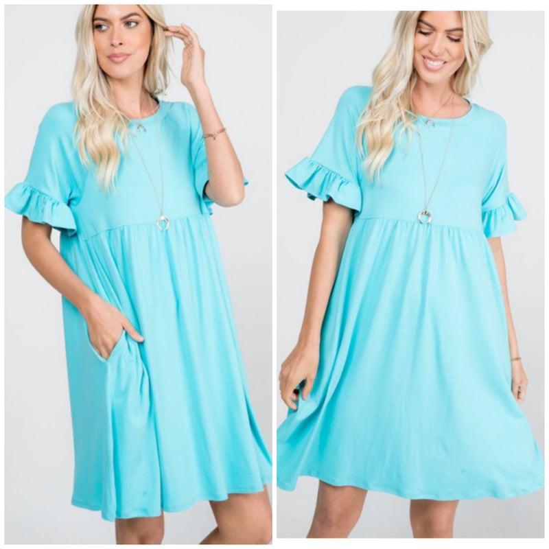 Aqua Ruffle Sleeve Pocket Dress