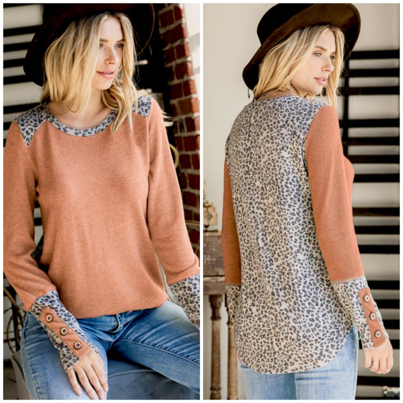 Clay Animal Print Contrast Button Top