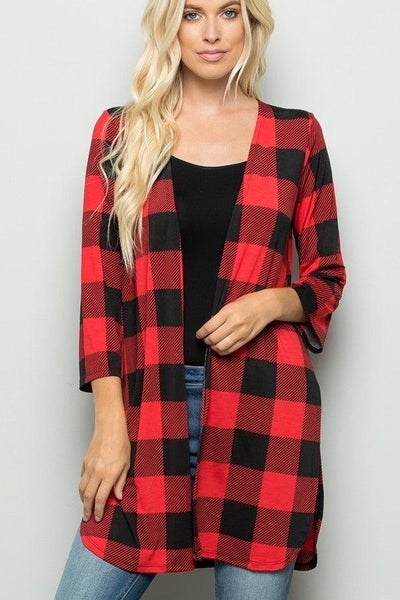 FINAL SALE Black & Red Buffalo Plaid Cardigan