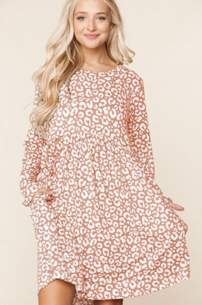Blush Animal Print Pocket Dress