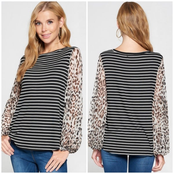 Black Striped Animal Print Sleeve Top