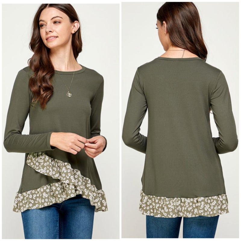 Olive Floral Ruffle Top