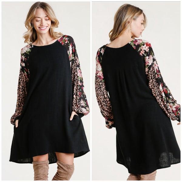 Umgee Black Animal Print & Floral Sleeve Dress