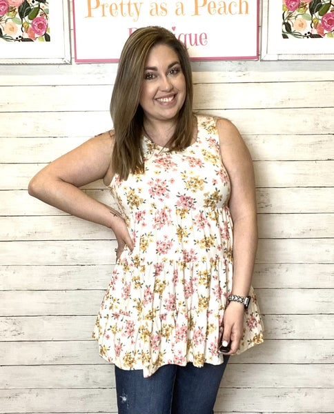 Ivory Floral Tiered Tank Top
