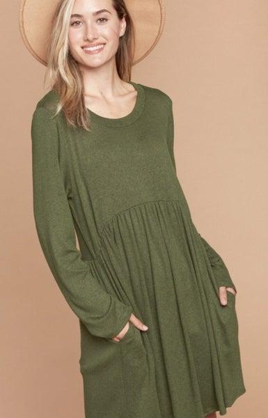 LAST CHANCE FINALSALE Olive Two Toned Pocket Dress
