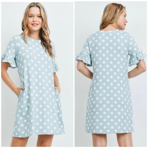 LAST CHANCE FINALSALE Mint Polka Dot Pocket Dress