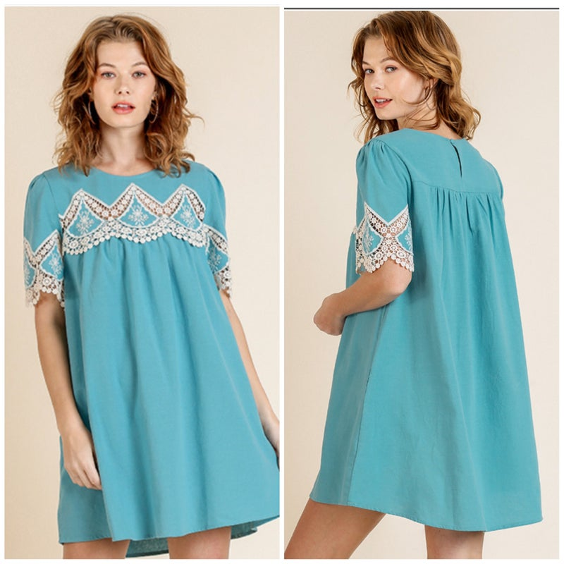 FINAL SALE Umgee Blue Crochet Tunic Dress
