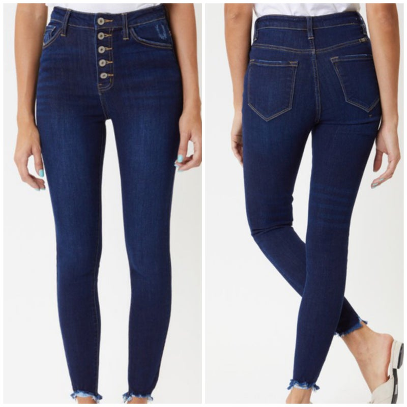 KanCan High Rise Button Skinny Jeans