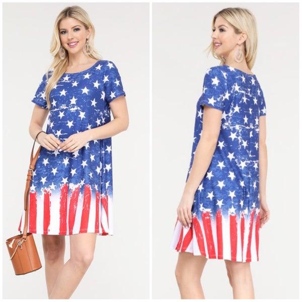 FINALSALE Navy Stars & Stripes Distressed Pocket Dress