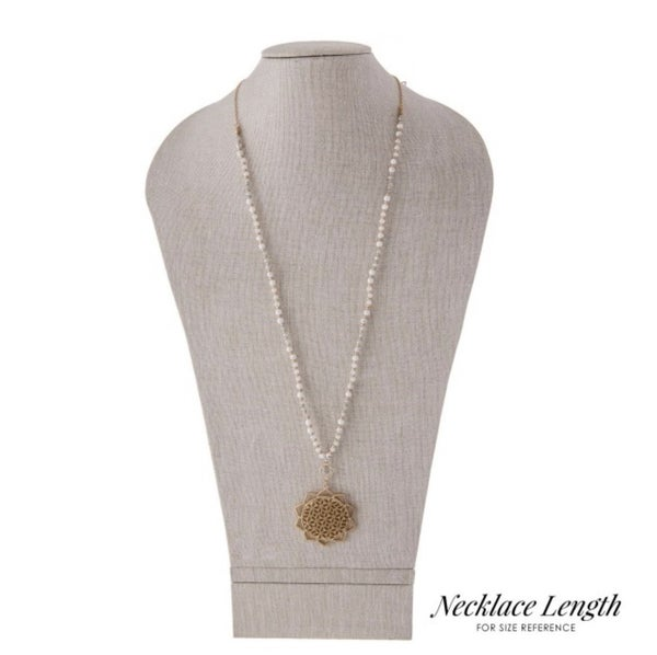 White Beaded Gold Necklace