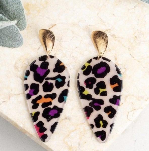 Multi Leopard Tear Drop Earrings