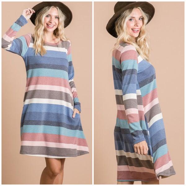 Navy Multi Striped Pocket Dress