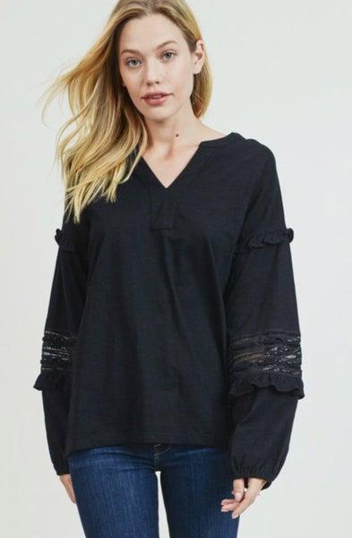 Black Lace Ruffle Sleeve Top