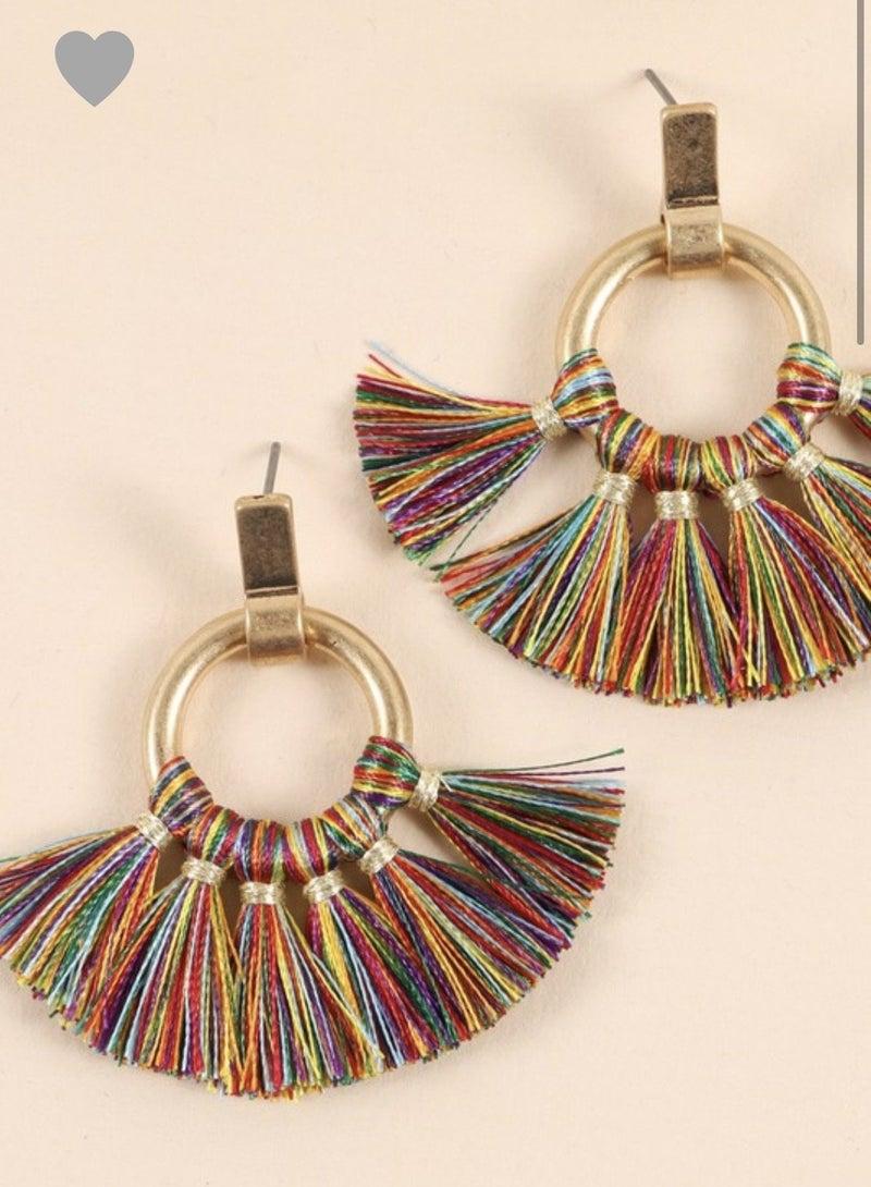 Multi Color Round Tassel Earrings