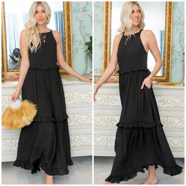 Black Ruffle Pocket Maxi Dress