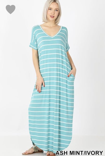 Deal of the Day Striped Pocket Maxi Dress