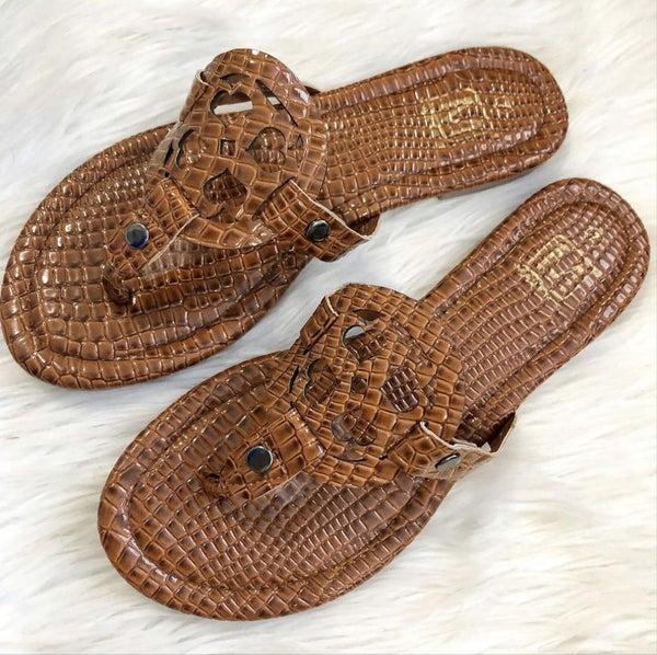 FINAL SALE Tan Croc Sandal