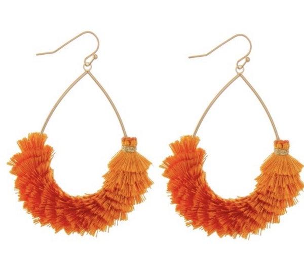 Orange Tassel Teardrop Earrings