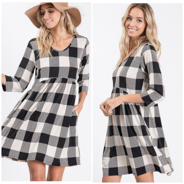 FINAL SALE Black & Ivory Buffalo Plaid Dress