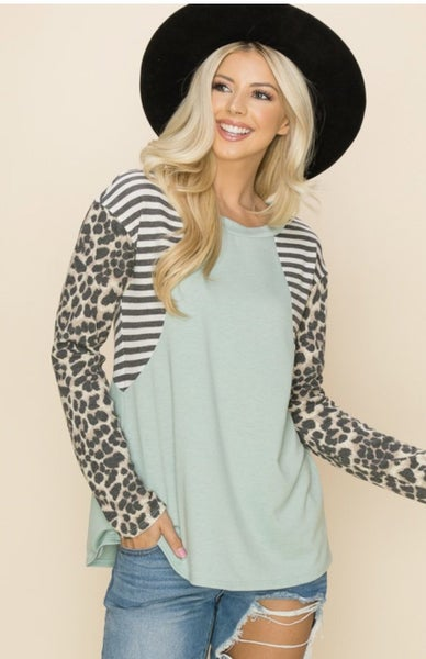 Sage Striped Animal Print Sleeve Top