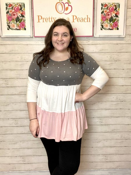 Charcoal & Pink Polka Dot Color Block Top
