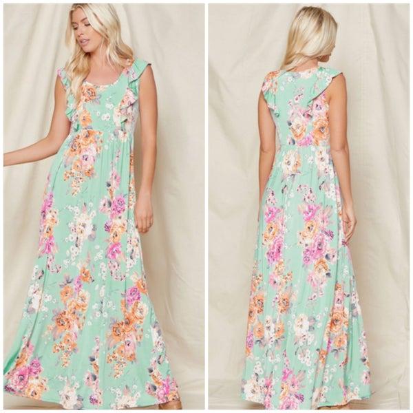 Mint Floral Ruffle Maxi Dress