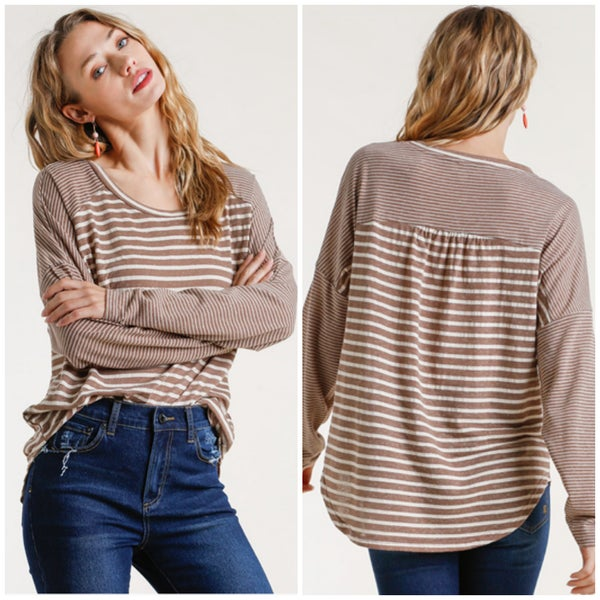Umgee Taupe Striped Top