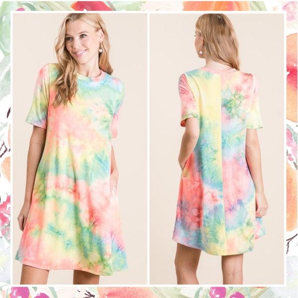 Coral Tie Dye Pocket Dress