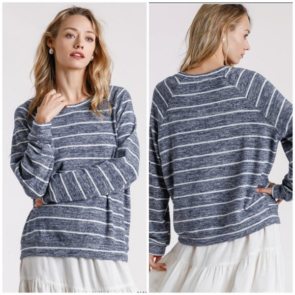 Umgee Navy Striped Top
